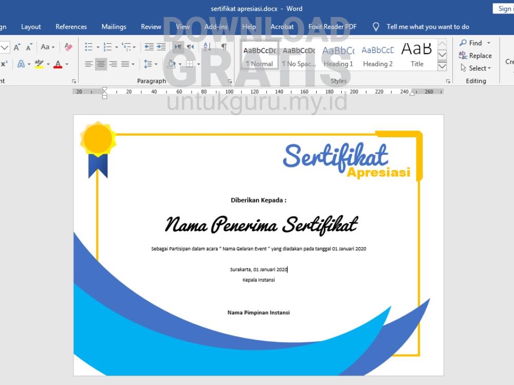 Download Sertifikat Bisa di Edit Word Template - Sertifikat Apresiasi