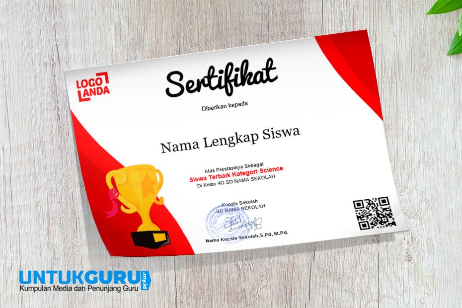 Download Template Sertifikat Award Piala Sekolah Warna Merah