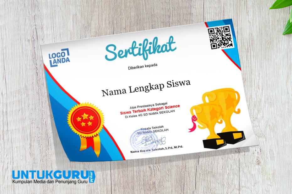 Download Template Sertifikat Award Piala dan medali Sekolah Warna Merah